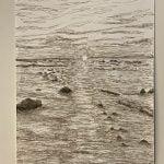 Zonsondergang Normandische kust, Oostindische inkt A4, 2021